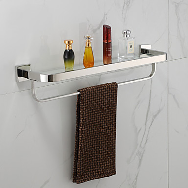 Contemporary Mirror Polished Wall Mounted Bathroom Shelves/Towel Warmer