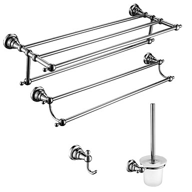 4 Pcs Bathroom Accessory Sets,Zinc Alloy, Stainless Steel, Brass Material Chrome Finish,Bath Accessories