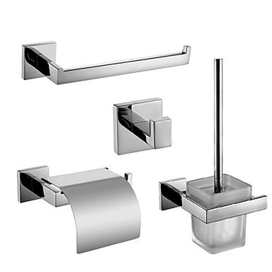 Polish Stainless Steel Bath Hardware Set with Towel Ring Toilet Paper Holder with Lid Toilet Brush Holder and Robe Hook