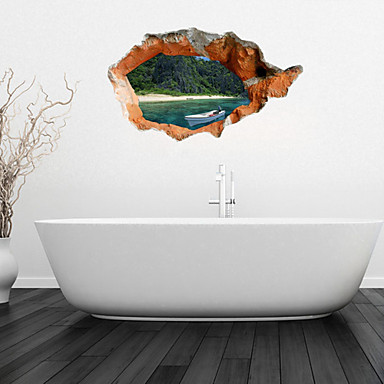 3D Wall Stickers Wall Decals, White Canoe Bathroom Decor Mural PVC Wall Stickers