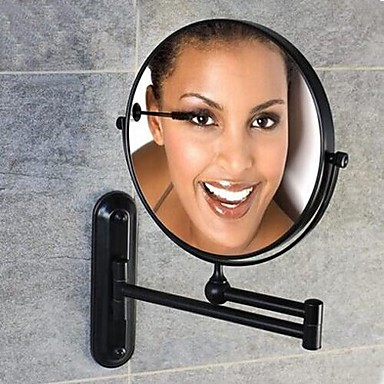 60 Degree Rotating 2X Magnifying Oil Rubbed Bronze Plating Finished 8-inch Solid Brass Wall Mount Cosmetic Mirror