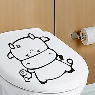 Cute Calf PVC Toilet Decoration Stickers E7776