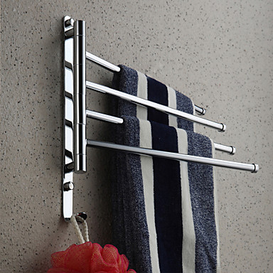 Towel Rack with Hooks,Contemporary Chrome Finish Four Bars Active Brass,Bathroom Accessory