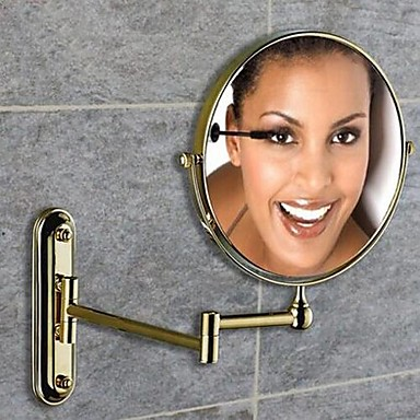 360 Degree Rotating 2X Magnifying Ti-PVD Plating Finished 8-inch Solid Brass Wall Mount Cosmetic Mirror